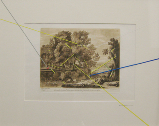 Exact Placement for the Picturesque, 2010, vinyl & graphite on antique print, 45 x 55 cm